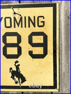 Old Vintage Wyoming State Highway Road Sign 789 North South Metal Cowboy Horse