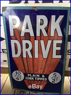 Old Vtg Porcelain Metal Advertising Sign Park Drive Tobacco