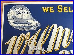 Old Vtg Wh Mr Mcgee & Co Seal Brand Baltimore Oyster Desperate Sign Metal 15 X 7