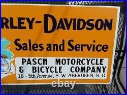 Older Large Vintage Harley Motorcycle Metal Dealer Sign From South Dakota