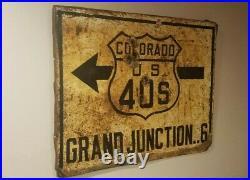 Original 1920s Vintage COLORADO U. S. HIGHWAY ROUTE 40S ARROW Road Metal Sign