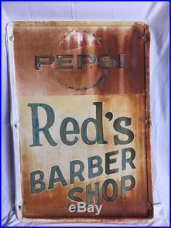 Original 1950's Pepsi Red's Soda Barber Shop Metal Sign Man Cave 27 x 39 Vintage