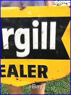 Original 1950s Vtg Tin Metal Cargill Dealer Feed Seed Sign Corn Farm Tractor