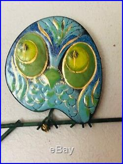 Original 1960s Vintage Curtis Jere Enameled Metal Owl Family Sculpture Signed