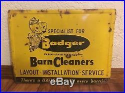 Original Badger Vintage Metal Embossed Sign Barn Cleaners Farm Equipment Dealer