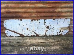 Original Chew Mail Pouch Tobacco Sign Vintage Porcelain Metal 12x42 Antique Sign