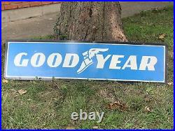 Original GOODYEAR 48 Metal Sign Double Sided Tire Shop Sign Oil Gas Vintage