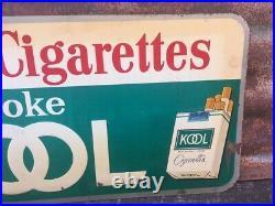 Original Kool Cigarette Sign Old Tobacco Sign Vintage Metal 11 x 26 Antique