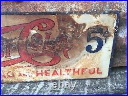 Original Pepsi Cola Sign 5 Cent Vintage Double Dot Soda Pop Metal Sign 6 1/4x17