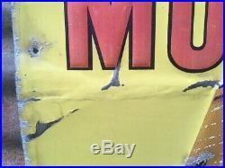 Original Phillip Morris Tobacco Sign Vintage Metal Large 20x35 Antique Sign