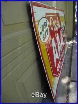 Original RARE Vintage AAA Root Beer Metal Store Side Sign 55 x 32