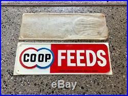 Original Tin Old NOS CO OP Feeds Farm Embossed Metal Sign Gas oil Vintage
