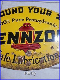 Original Vintage 1947 Pennzoil Motor Oil Gas Station 2 Sided Metal Sign