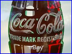 Original Vintage (1952) COCA-COLA Embossed Metal Button Sign Free Shipping