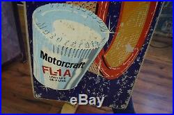 Original Vintage 1970's Motorcraft Ford Car Gas Oil Metal Sign rare Oil Filters