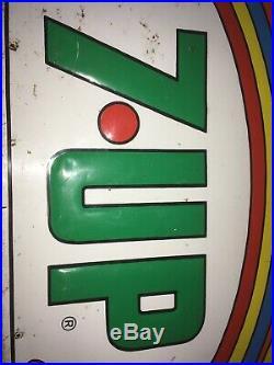 Original Vintage 1971 7Up 7 Up Soda Pop Peter Max Style 35 Embossed Metal Sign