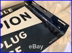 Original Vintage Double Sided Flange Champion Spark Plug Metal Sign