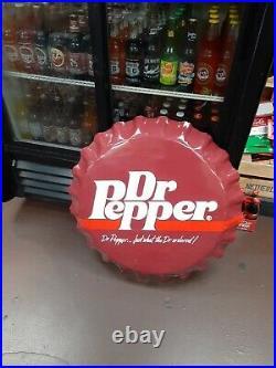 Original Vintage Dr. Pepper Sign Cap Button Metal Embossed Dealer Soda Gas Oil