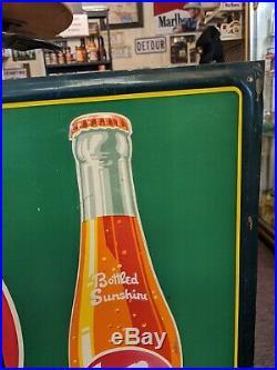 Original Vintage & EARLY 1950 Drink Sun Spot Embossed Metal Advertising Sign
