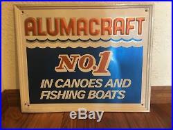 Original Vintage Embossed Metal Boat Sign Alumacraft No 1 Canoes Fishing Boats