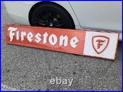 Original Vintage Firestone Sign Metal HUGE Embossed Dealer Gas Oil Grace Bright