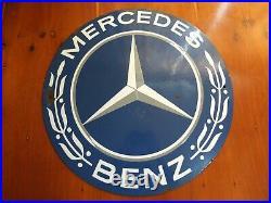 Original Vintage Mercedes Benz Dealership Show Room Enamel Metal Sign