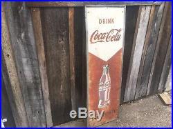 Original Vintage Metal Coke Sign 1940s COCA COLA Refresh Arrow Soda Sign 54 Inch