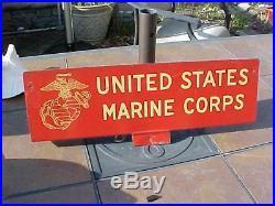 Original Vintage Metal Usmc Us Marine Corps Sign