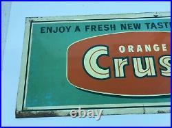 Original Vintage Orange Crush Metal Soda Pop Sign RARE