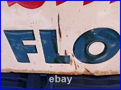 Original vintage ROBIN HOOD FLOUR embossed metal sign by Stout Sign Co