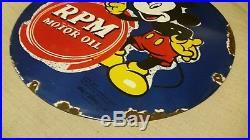 Original vintage RPM MOTOR OIL DISNEY CORP 1939 porcelain metal sign gas oil