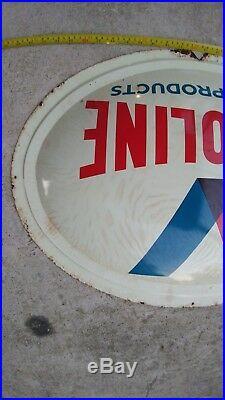Original vintage Valvoline oil gas Marine products oval convex metal sign RARE
