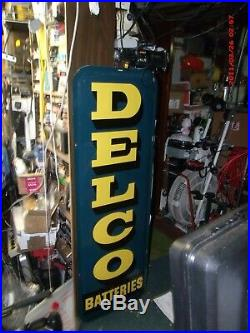 Original vintage metal gas oil signs delco battery fifties veary good used -sale