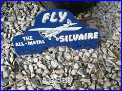 Original vintage nos 1950s SILVAIRE airplane license plate topper gas oil promo