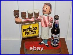 Pabst Blue Ribbon Vintage Bar Display Sign Metal Waiter Pub Bartender Made USA