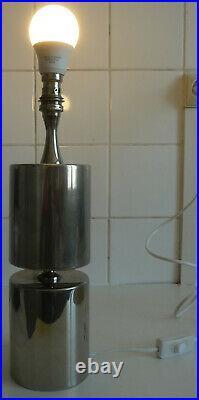 Pied de lampe en métal chromé signé Barbier 1970 vintage