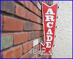 Plug-In or Battery Double Sided ARCADE Arrow Vintage Rustic Metal Marquee Sign