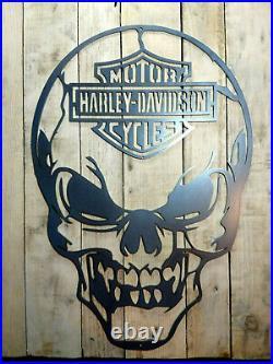 Premium Harley Davidson Skull Metal Wall Sign Hand Finished motorbike cycle