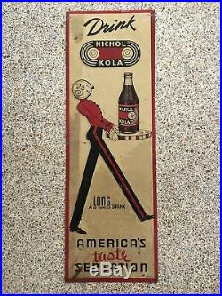 RARE AMERICANA Vintage Nichol Kola 5c Soda Pop Embossed Metal Sign 30s