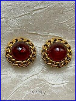 RARE Elegant Vintage CHANEL GRIPOIX 1985 Red poured Glass Earrings 2.5cm