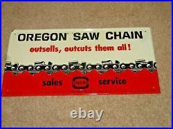 RARE Vintage 1960's Oregon Chain Saw Farm Gas Oil 8 x 16 Metal SignREAD DESCR