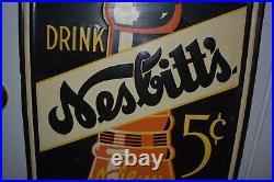 RARE Vintage 5 CENT NESBITTS ORANGE SODA BOTTLE Metal ADVERTISING VERTICAL SIGN