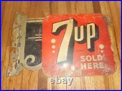 RARE Vintage 7up SOLD HERE SODA POP Metal Advertising FLANGE SIGN