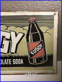 RARE Vintage FUDGY Chocolate Soda Pop 16.5 Metal Gas Station Advertising Sign
