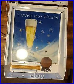 RARE Vintage Pabst Blue Ribbon Beer Sign Light Moving Bubbles Snow Flakes Metal