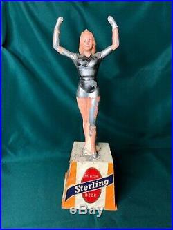 RARE Vintage Sterling beer can sign bar trophy tip bell metal man cave MCM pinup