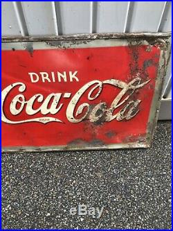 Rare Large Vintage 1938 Coca Cola Soda Pop Bottle 54 Embossed Metal Sign