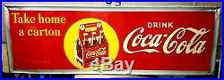 Rare Large Vintage 1940's Coca Cola Soda Pop Bottle 54 Embossed Metal Sign