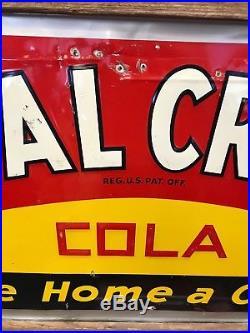 Rare Large Vintage 1940's RC Royal Crown Cola Soda Pop 54 Embossed Metal Sign