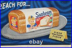 Rare Large Vintage 1950's Sunbeam Bread Food Shop 60 Embossed Metal Sign